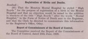 High Royds Births and Deaths 1926 